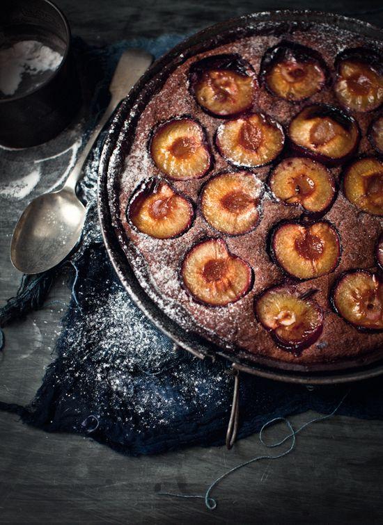 chocolate frangipane plum tart