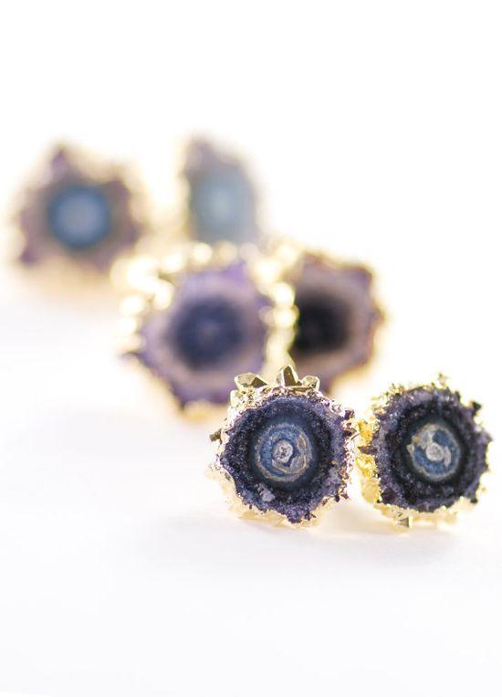 Kakahi earrings gold amethyst stud earrings by www.kealohajewelr... maui, hawaii