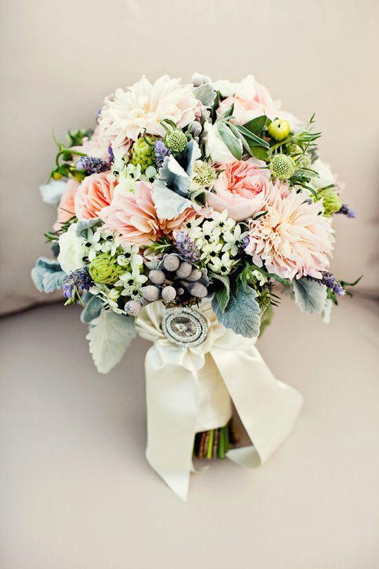 pretty peach + green bouquet