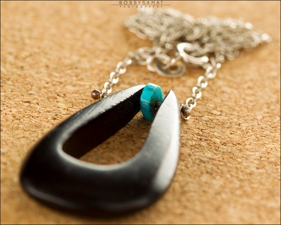 Hand Carved Wood Necklace With Turquoise Bead - Jewelry by Jason Stroud.