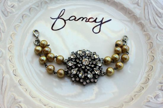 Vintage Glass Pearls and Sparkling Old Rhinestone