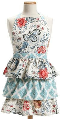 Full Ruffle Blue vintage apron