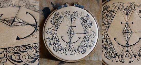 Anchor - handmade tattooed & tooled leather art @ www.puncturedarte....