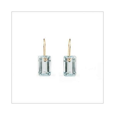 Aquamarine Rectangle Earrings