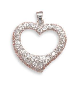 Love Shines - Sparkling Heart Shaped Sterling Silver Pendant with Glittering Cubic Zirconias. #BuyBlueSteel #Jewelry
