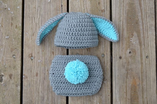 Love! Newborn Bunny Hat with Diaper Cover Outfit in Gray - Photo Props, Photography Props, Easter ( available in different color ). $35.00, via Etsy.