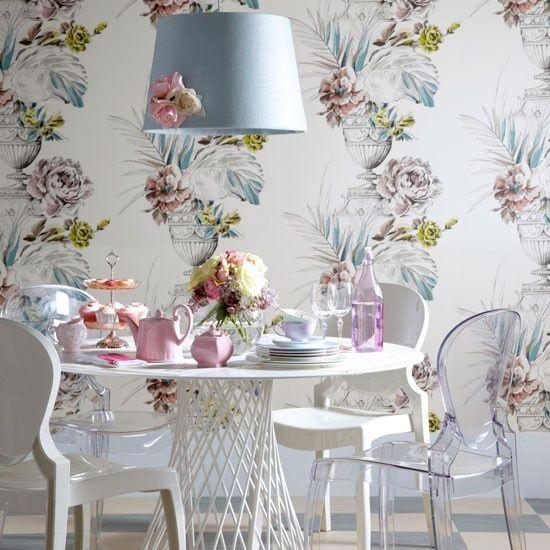 Dining Room, Romantic Dining Area with Wonderful Wallpaper: Feminine Dining Room Home Interior Design
