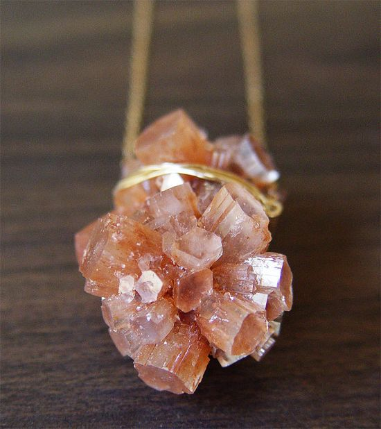 Aragonite mineral stone necklace