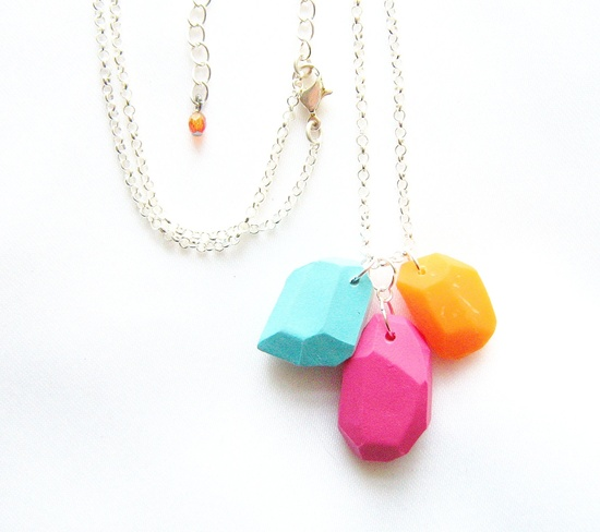 Tropical punch geo necklace in neon blue, orange, hot pink - ,etsy