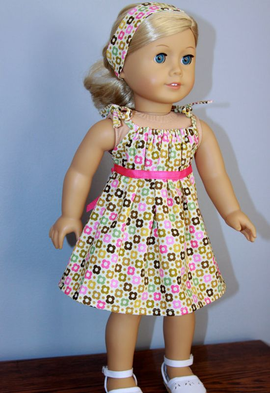 American Girl clothes  Summer dress and by dollpetitecouture, $20.00