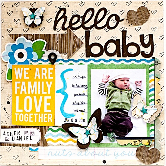 #papercraft #Scrapbook #layout   Hello Baby - Scrapbook.com