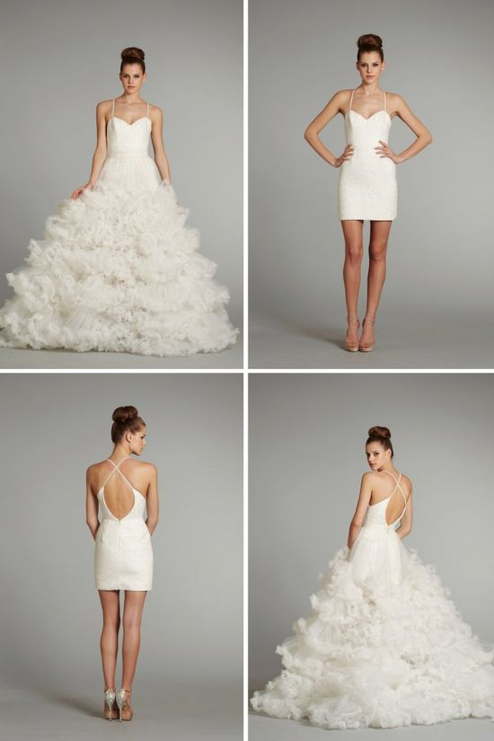 What an amazing wedding dress - by Hayley Paige - it's convertable!