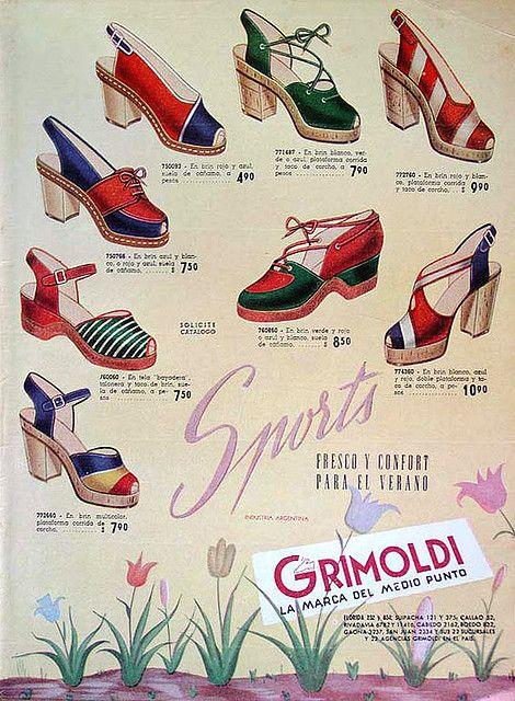 Grimoldi Gorgeous Spanish 40s Wedges, Vintage Shoe Ad. #vintage #fashion #1940s #WW2 #shoes