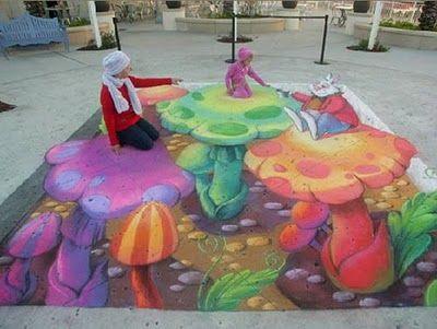 Alice in Wonderland 3D sidewalk art.