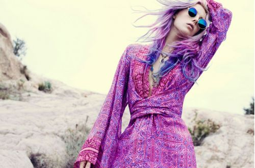 Purple hair & style.