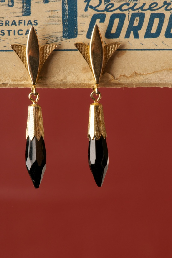 Vintage Emmons Jet Black Pointy Dangle Spike Earrings. $14.00, via Etsy.
