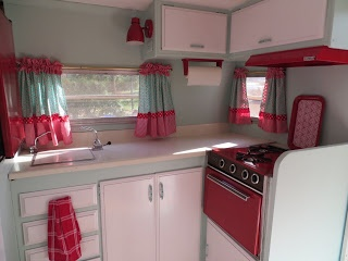 red travel trailer