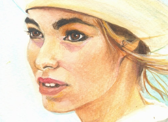 Woman in a Hat  original painting  gouache  fine by OhLaLaGalerie, $65.00
