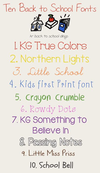 10 Fonts For Back To School