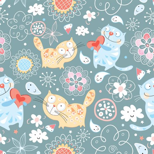 Funny Cat pattern vector 03