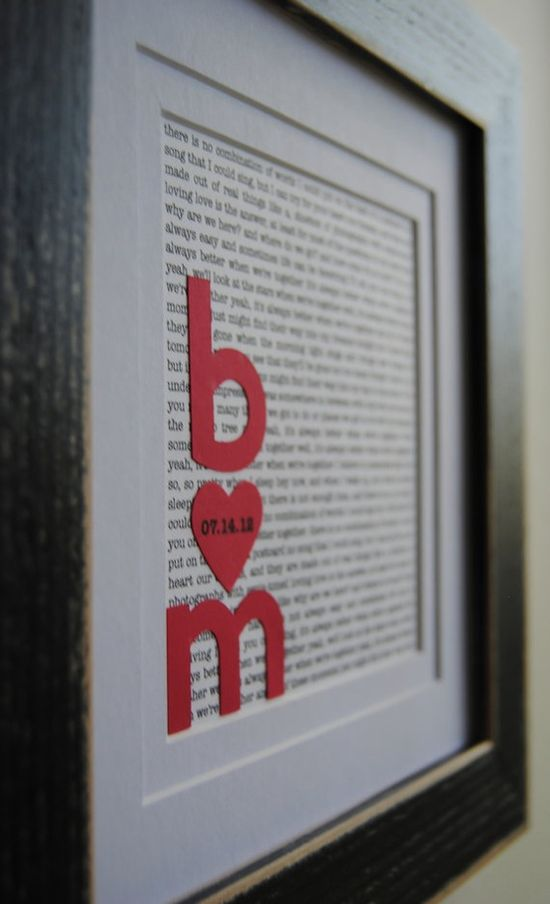 lyrics to your first dance. DIY...cute!