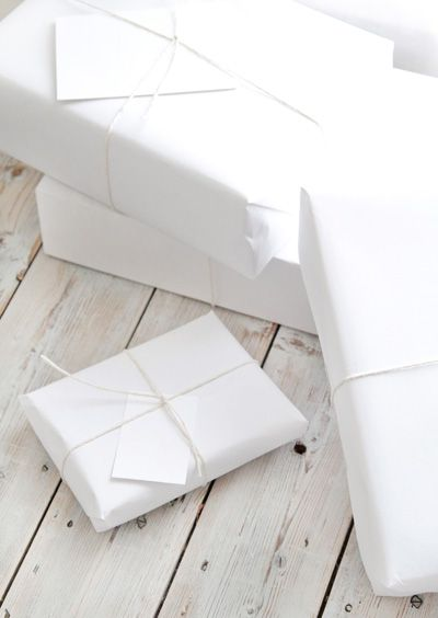 All-white gift wrapping.