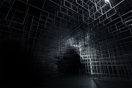 Sou Fujimoto's Serpentine converted into a storm of LED Lightning by UVA lightning light installation architecture