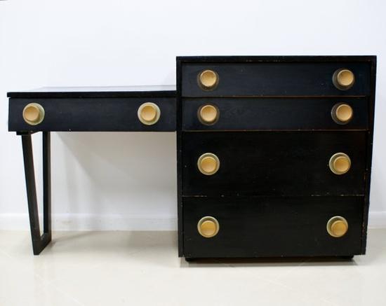 Mid-Century black vanity/desk