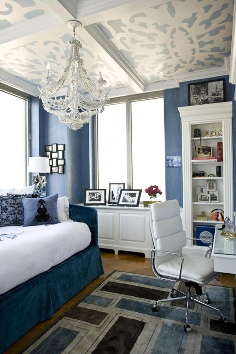 blue and white. I like the idea of stenciled ceilings but the ceiling would need to be smooth for it to work