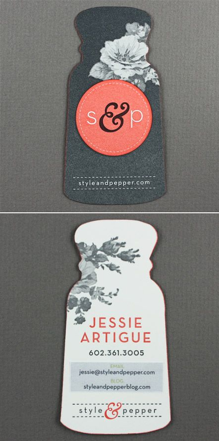 Business Cards - Style & Pepper / Jessie Artigue  styleandpepperblo...  {Great shape, elegant and modern design}
