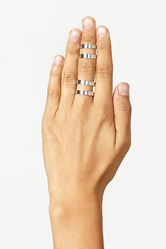 $12 Stacked Cutout Rings - Silver