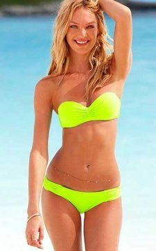 Neon color bandeau bikini.