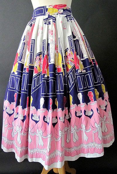 Beautiful vintage border print novelty skirt featuring ladies in fancy pink dresses. #vintage #1950s #fashion #skirts #novelty_print