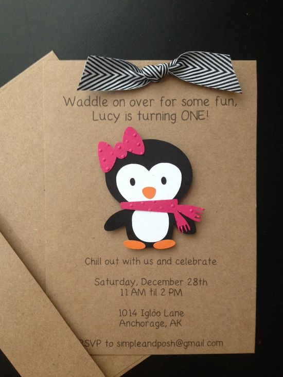 Penguin Girl Handmade Invitations Custom Made for Birthday Party or Baby Shower on Kraft Paper, Set of 8 Invites