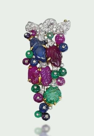 Art Deco 'Tutti Frutti' Brooch, Cartier via Christie's