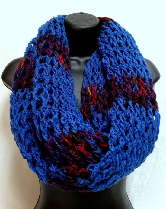The Gentleman's Crochet Infinity Scarf Blue and by Africancrab, $30.00