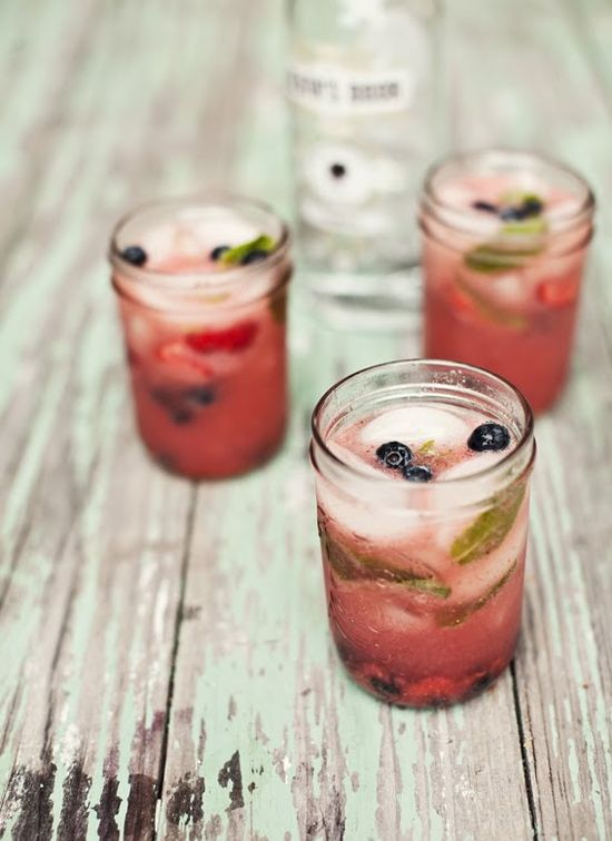 Watermelon & Strawberry Vodka Mojitos.