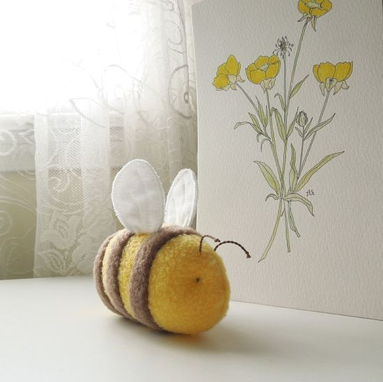 Yellow Bumble Bee Stuffed Animal Handmade Plush Toy by bubbletime