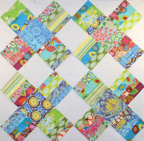 cross quilt with charm squares