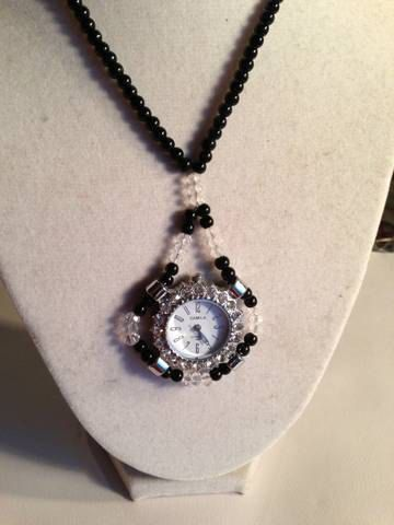 Watch Necklace Pendant Black and Crystal Silver Jewelry by cdjali, $25.00