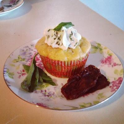 Sun-Dried Tomato, Basil & Gorgonzola Savory Cupcakes - @Jordan N Couture