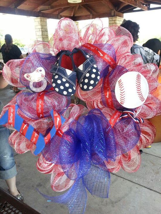 Baby boy baseball wreath