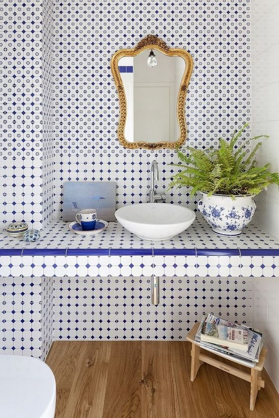 Blue and white tile.