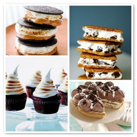 A quartet of thoroughly scrumptious looking S'mores based desserts. #food #smores #dessert #chocolate #marshmallow #camping #dessert #cupcakes #pie #whoopie #ice #cream