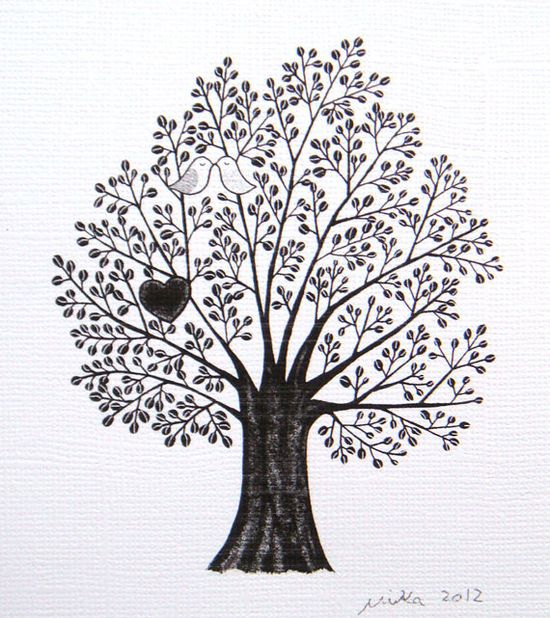 Tree of Love Bird Heart Print