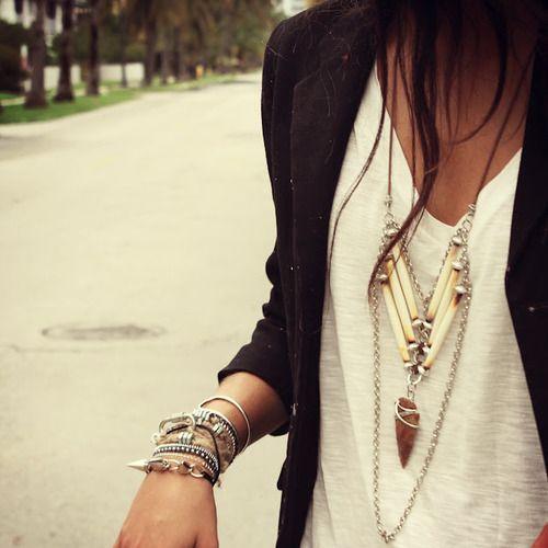 Jewelry, T-shirt, blazer.