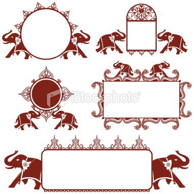 Elephant, Indian Culture, Henna Tattoo, Pattern, Frame, Picture Frame, Design, Circle, Ornate, Vector, Collection, Banner  {via HiDesignGraphics istockphoto.com}