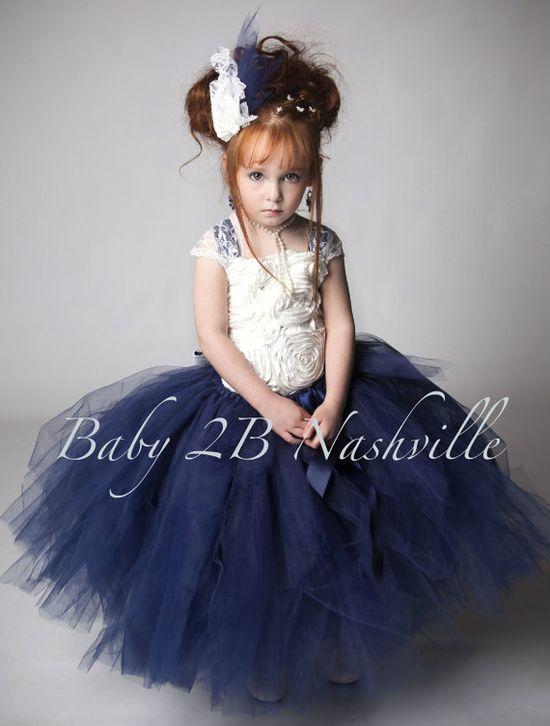 Navy Flower Girl Dress, Ivory Flower Girl  Dress, Lace Tutu Dress, Lace  Flower Girl Dress 5-6 Girls on Etsy, $145.00