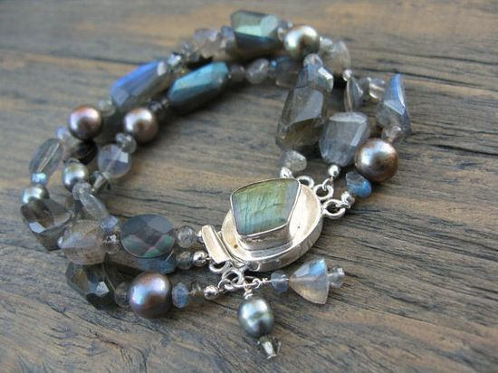 Handmade labradorite bracelet with unique by ArtfulHummingbird, $245.00