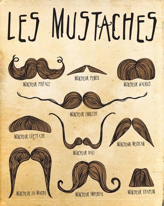 Mustache Print Art, 8x10